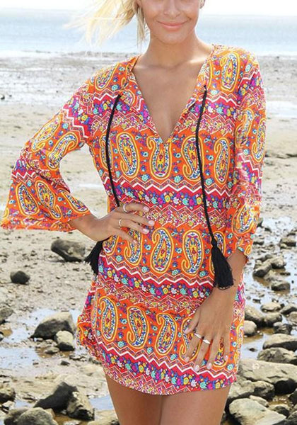 Casual Orange Floral Drawstring V-neck 3/4 Sleeve Mini Dress