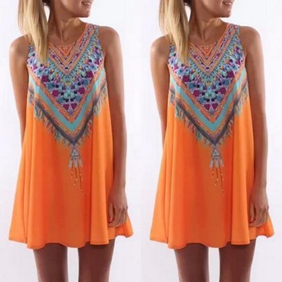Casual Orange Floral Round Neck Sleeveless Loose Mini Dress