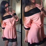 ByChicStyle Casual Orange Patchwork Lace Boat Neck Fashion Polyester Mini Dress
