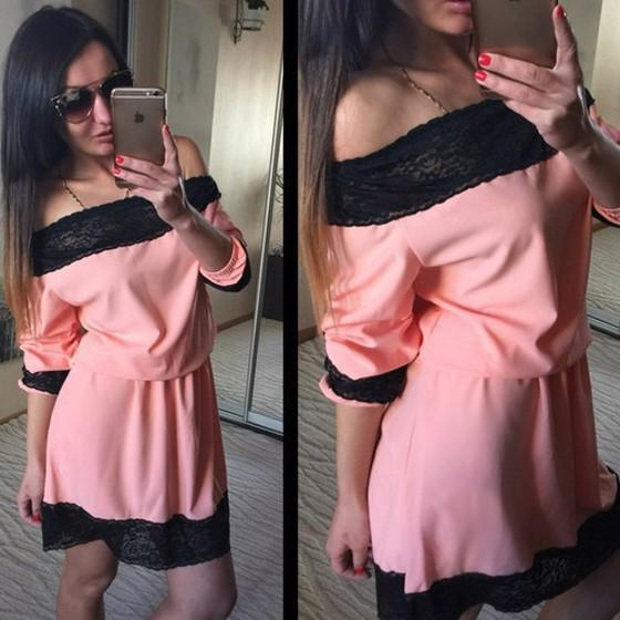 Casual Orange Patchwork Lace Boat Neck Fashion Polyester Mini Dress