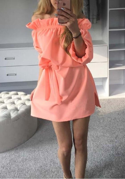 Casual Orange Plain Belt Irregular Ruffle Casual Mini Dress