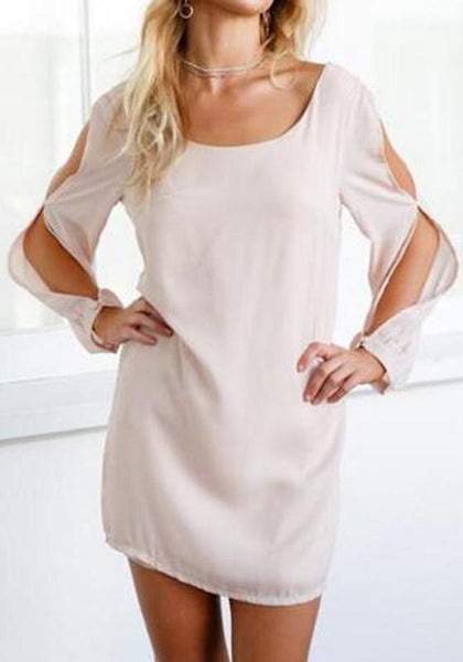 Casual Pink Cut Out Bow Long Sleeve Cute Mini Dress