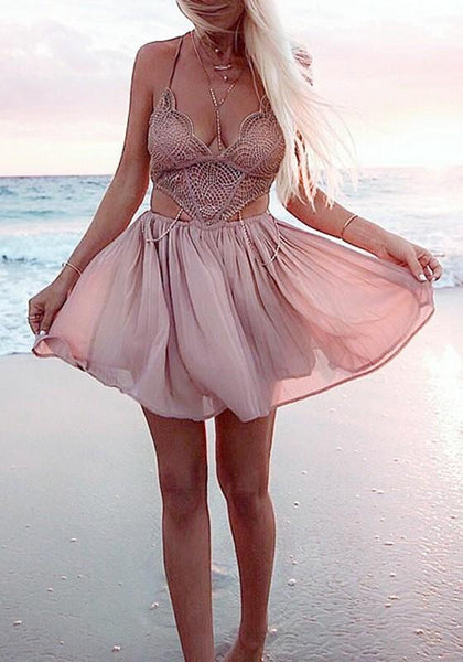 Pink Cut Out Lace Spaghetti Straps Backless Plunging Neckline Sleeveless Mini Dress