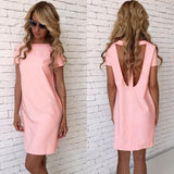 ByChicStyle Casual Pink Cut Out Round Neck Short Sleeve Casual Mini Dress