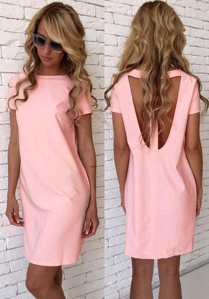 Casual Pink Cut Out Round Neck Short Sleeve Casual Mini Dress