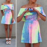 ByChicStyle Casual Pink Floral Bandeau Pleated Tie Dye Boat Neck Mini Dress