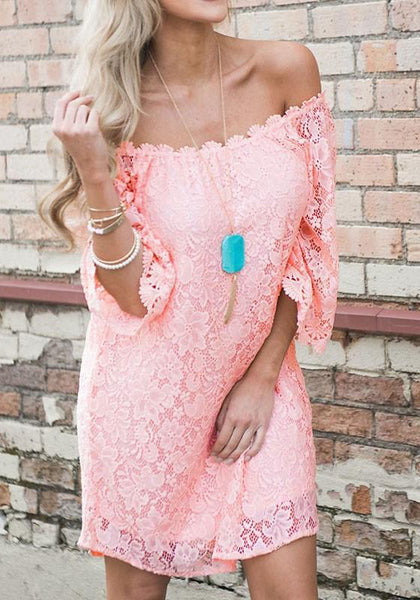 Casual Pink Floral Lace Swallowtail Half Sleeve Bohemian Mini Dress