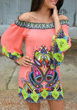 ByChicStyle Casual Pink Floral Boat Neck 3/4 Sleeve Off Shoulder Plus Size African Mini Dress