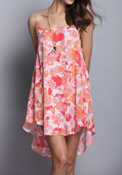 Casual Pink Floral Spaghetti Strap Draped High-low U-neck Open Back Mini Dress