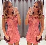 ByChicStyle Casual Pink Flowers Lace Hollow-out Embroidery Collarless Round Neck Mini Dress