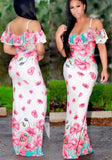 ByChicStyle Casual Pink Flowers Print Ruffle Draped Spaghetti Strap Boat Neck Maxi Dress