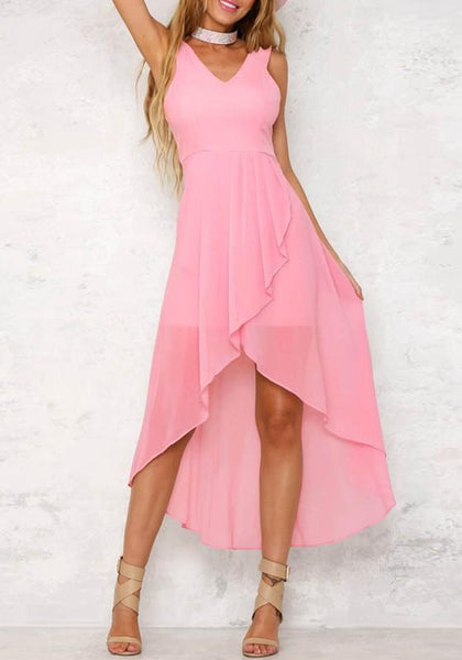 Casual Pink Irregular Double-deck Ruffle Zipper V-neck Fashion Maxi Dress