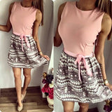 ByChicStyle Casual Pink Patchwork Belt Collarless Above Knee Loose Mini Dress