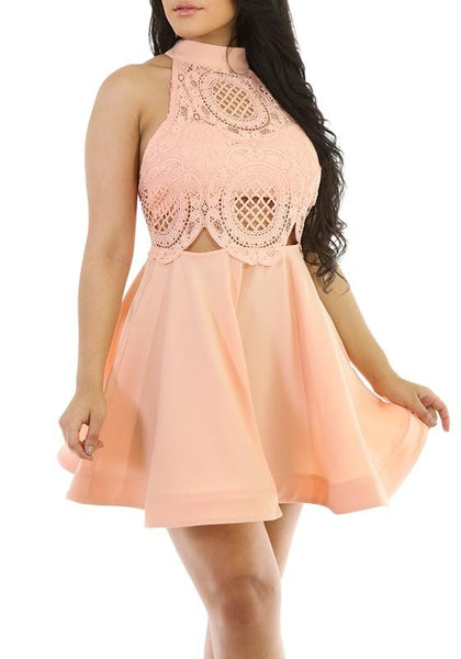 Casual Pink Patchwork Hollow-out Pleated Lace High Neck Mini Dress