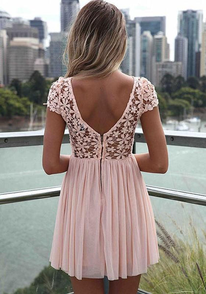 Casual Pink Patchwork Lace Embroidered Backless Short Sleeve Chiffon Dress