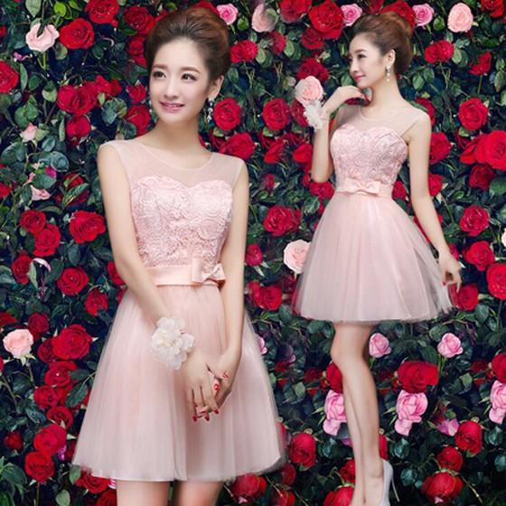Pink Patchwork Lace Bow Grenadine Bandage Bodycon Prom Tulle Mini Dress
