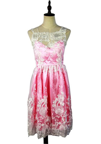 Casual Pink Patchwork Lace Draped Square Neck Fashion Mini Dress