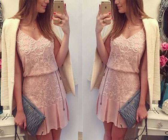 Casual Pink Patchwork Lace Draped V-neck Sleeveless Mini Dress