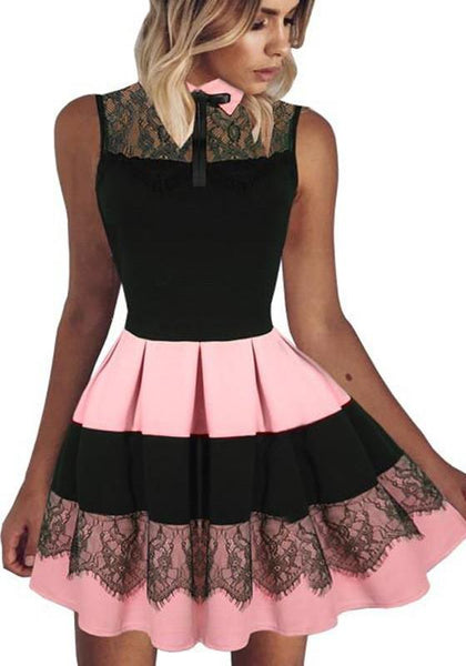 Casual Pink Patchwork Pleated Lace Bow Turndown Collar Mini Dress