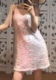 ByChicStyle Casual Pink Patchwork Sequin Condole Belt V-neck Backless Lace-up Fashion Mini Dress