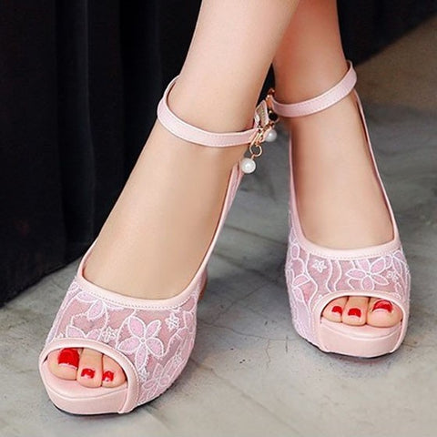 Streetstyle  Casual Pink Piscine Mouth Chunky Lace Buckle Fashion High-Heeled Sandals