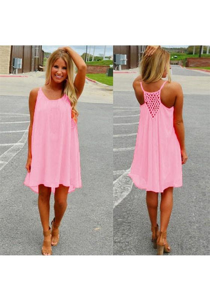 Casual Pink Plaid Irregular Draped High-low Round Neck Casual Mini Dress