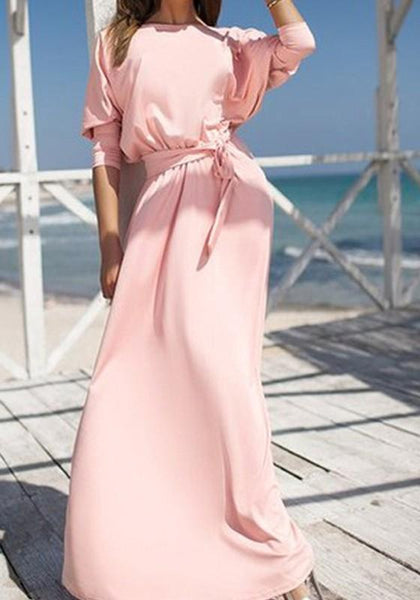 Casual Pink Plain Belt Round Neck Elegant Polyester Maxi Dress
