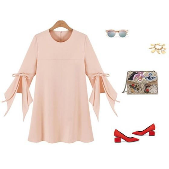 Casual Pink Plain Bow Elegant Plus Size Round Neck Fashion Mini Dress