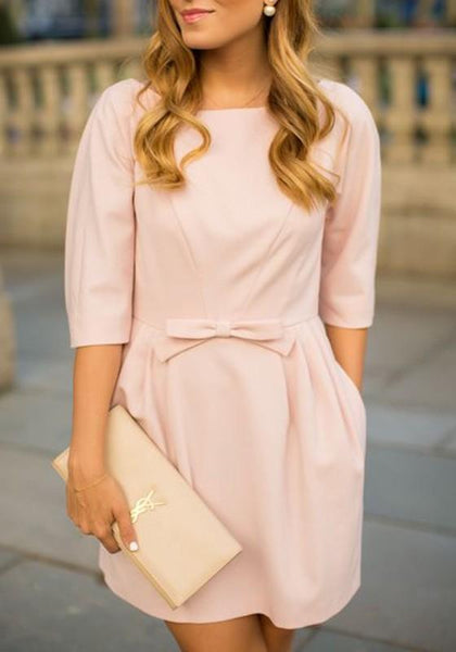 Casual Pink Plain Bow Round Neck 3/4 Sleeve Mini Dress