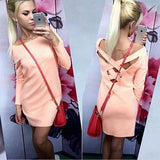 ByChicStyle Casual Pink Plain Cross Back Round Neck 3/4 Sleeve Fashion Mini Dress