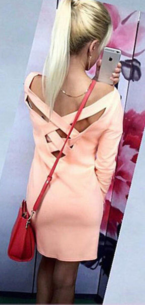 Casual Pink Plain Cross Back Round Neck 3/4 Sleeve Fashion Mini Dress