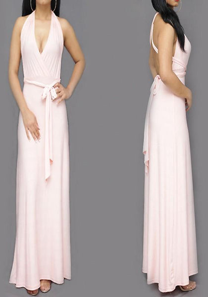 Casual Pink Plain Cross Back Sashes Multi Way Cocktail Party Maxi Dress