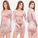 ByChicStyle Casual Pink Plain Cut Out Plunging Neckline Mini Dress