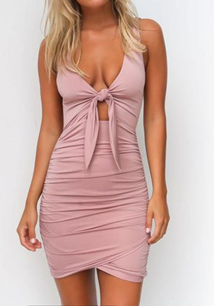 Casual Pink Plain Cut Out Plunging Neckline Polyester Mini Dress