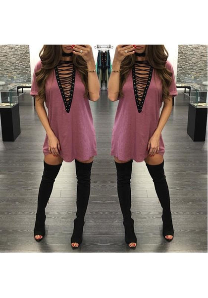 Casual Pink Plain Draped Cross Lace-up Deep V-neck Casual Club T-Shirt Dress