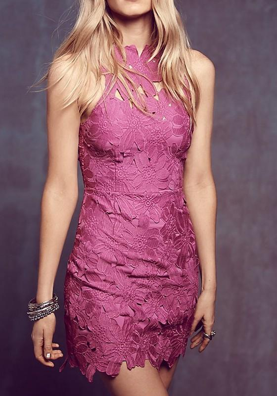 Casual Pink Plain Hollow-out Lace Zipper Backless Mini Dress