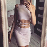 ByChicStyle Casual Pink Plain Hollow-out Round Neck Sleeveless One Piece Bodycon Mini Dress