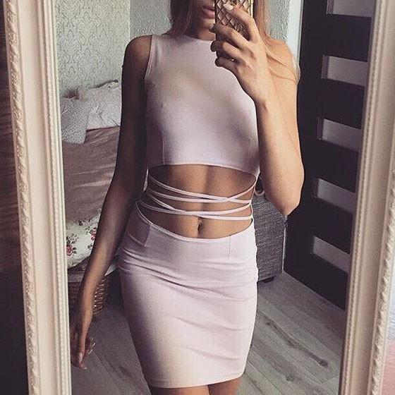 Casual Pink Plain Hollow-out Round Neck Sleeveless One Piece Bodycon Mini Dress