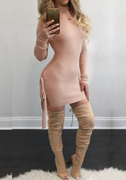 Casual Pink Plain Irregular Hollow-out Lace-up Side Slit Casual Knit Mini Dress