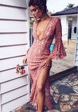 ByChicStyle Casual Pink Lace Cut Out Bridesmaid Thigh High Side Slits Deep-v Fashion Maxi Dress