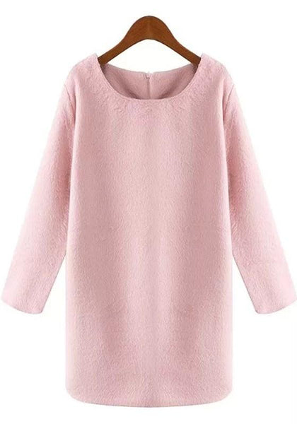 Casual Pink Plain Long Sleeve Sweet Mini Dress