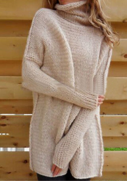 Casual Pink Plain Ruffle Collar Long Sleeve Oversize Casual Pullover Sweater