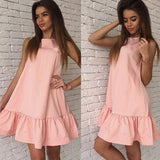 ByChicStyle Casual Pink Plain Ruffle Round Neck Sleeveless Mini Dress
