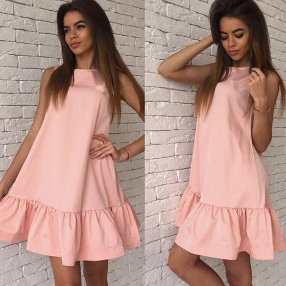 Casual Pink Plain Ruffle Round Neck Sleeveless Mini Dress