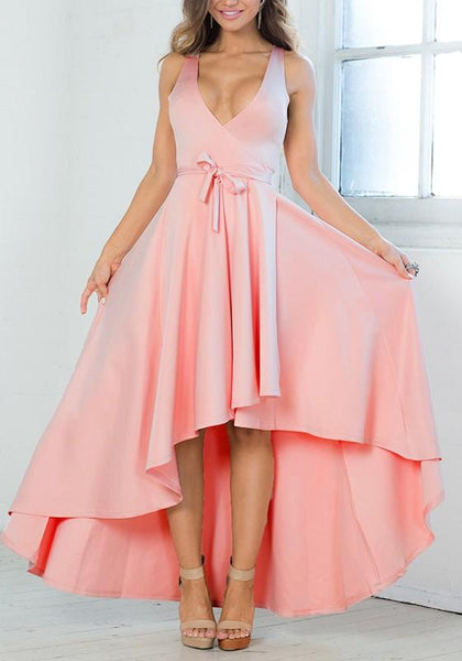Casual Pink Sashes Belt Draped Homecoming Party Peplum Plunging Neckline Maxi Dress