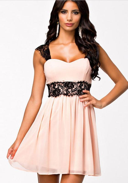 Pink-Black Patchwork Shoulder-Strap Lace Print Bandeau Sleeveless High Waisted Chiffon Elegant Dress