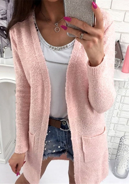 Casual Pink Pockets V-neck No Button Long Sleeve Cardigan Sweater