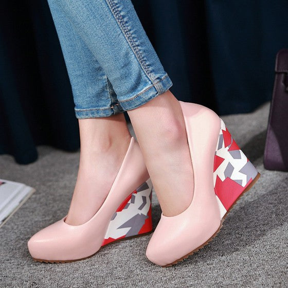 Casual Pink Point Toe Color Block Print Casual Wedges Shoes