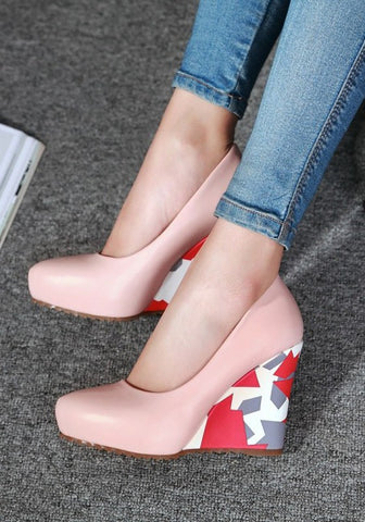 Streetstyle  Casual Pink Point Toe Color Block Print Casual Wedges Shoes