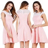 ByChicStyle Casual Pink Polka Dot Cut Out Round Neck Fashion Mini Dress